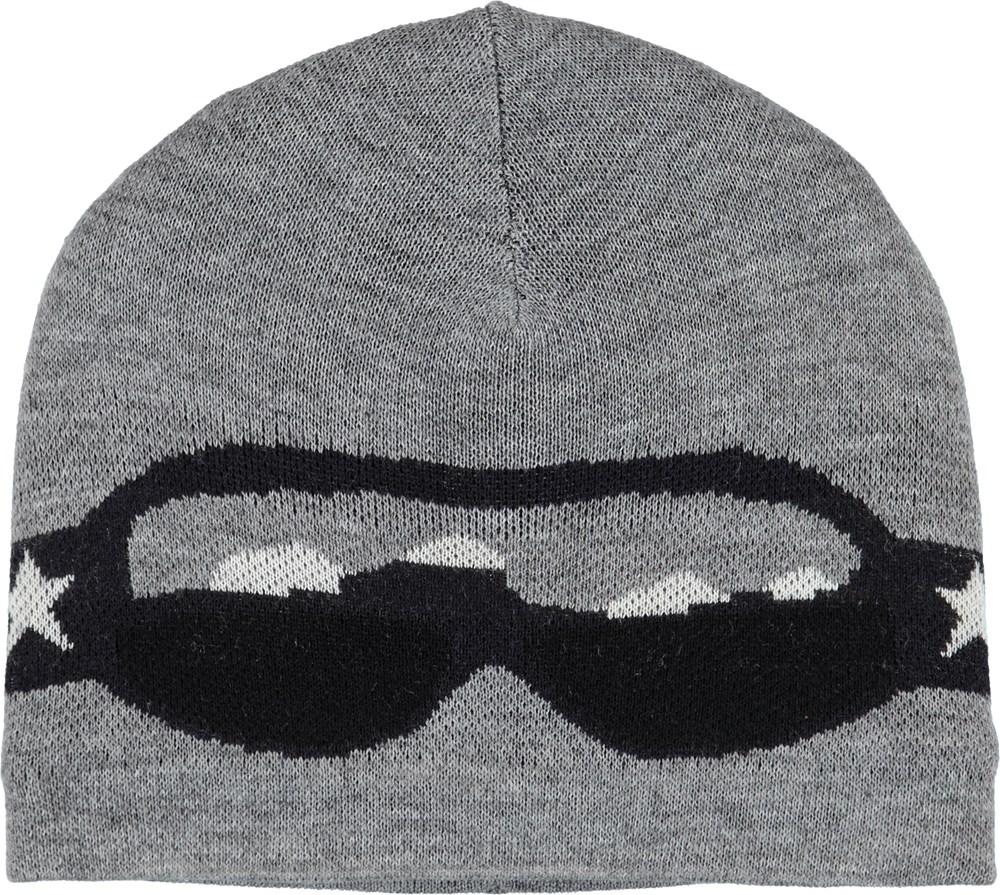 Kenzie - Grey Melange - Grey hat with ski goggle motif.