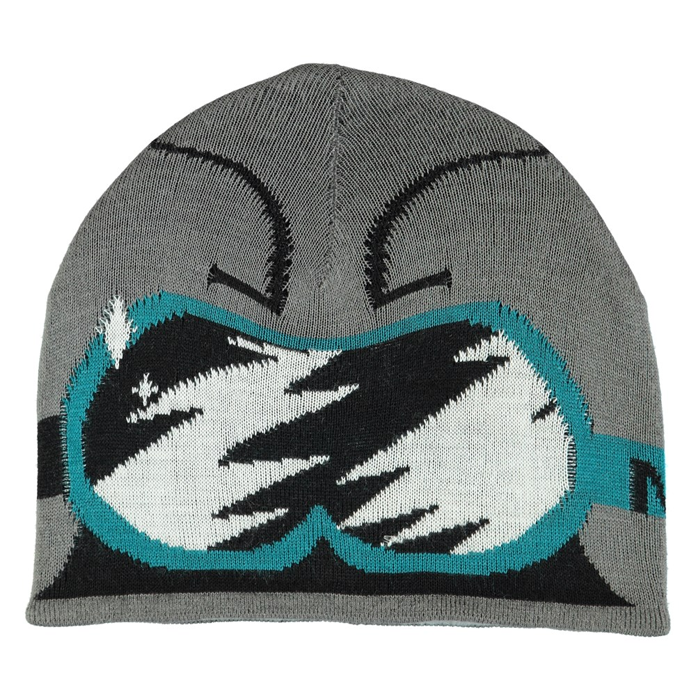 Kenzie - Smokey Grey - Grey knit hat with ski goggle pattern