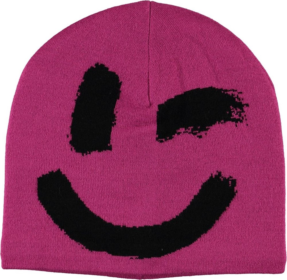 Kenzie - Wild Pink - Pink hat with smiley face