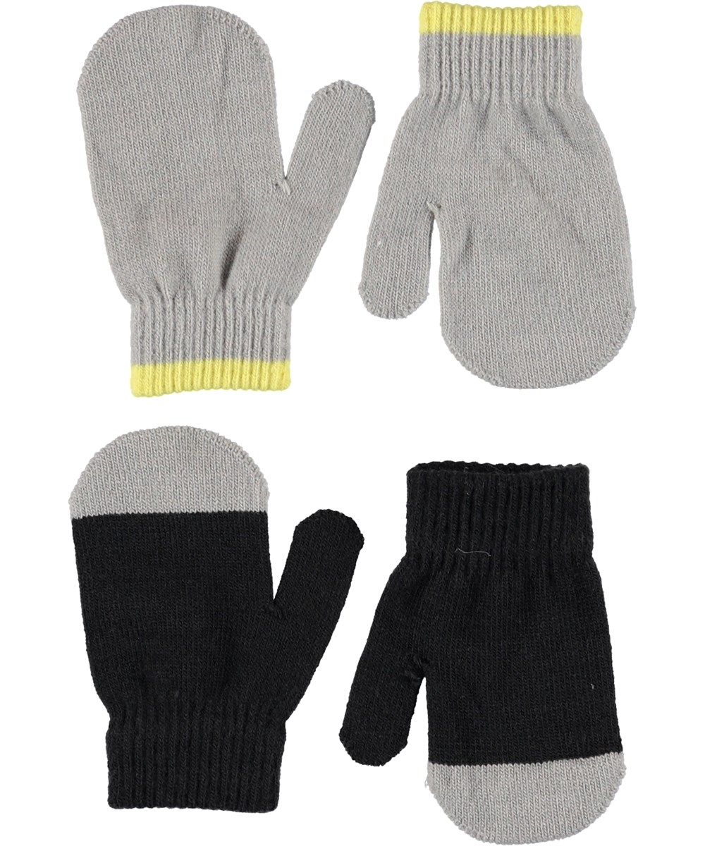 Ketty - Very Black - Baby knit mittens in black and grey.