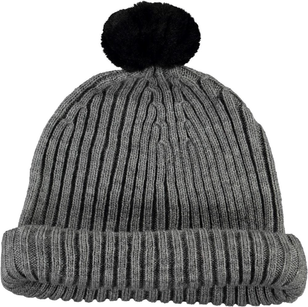 Kikki - Warm Grey Melange - Grey knit hat with a fur pom pom