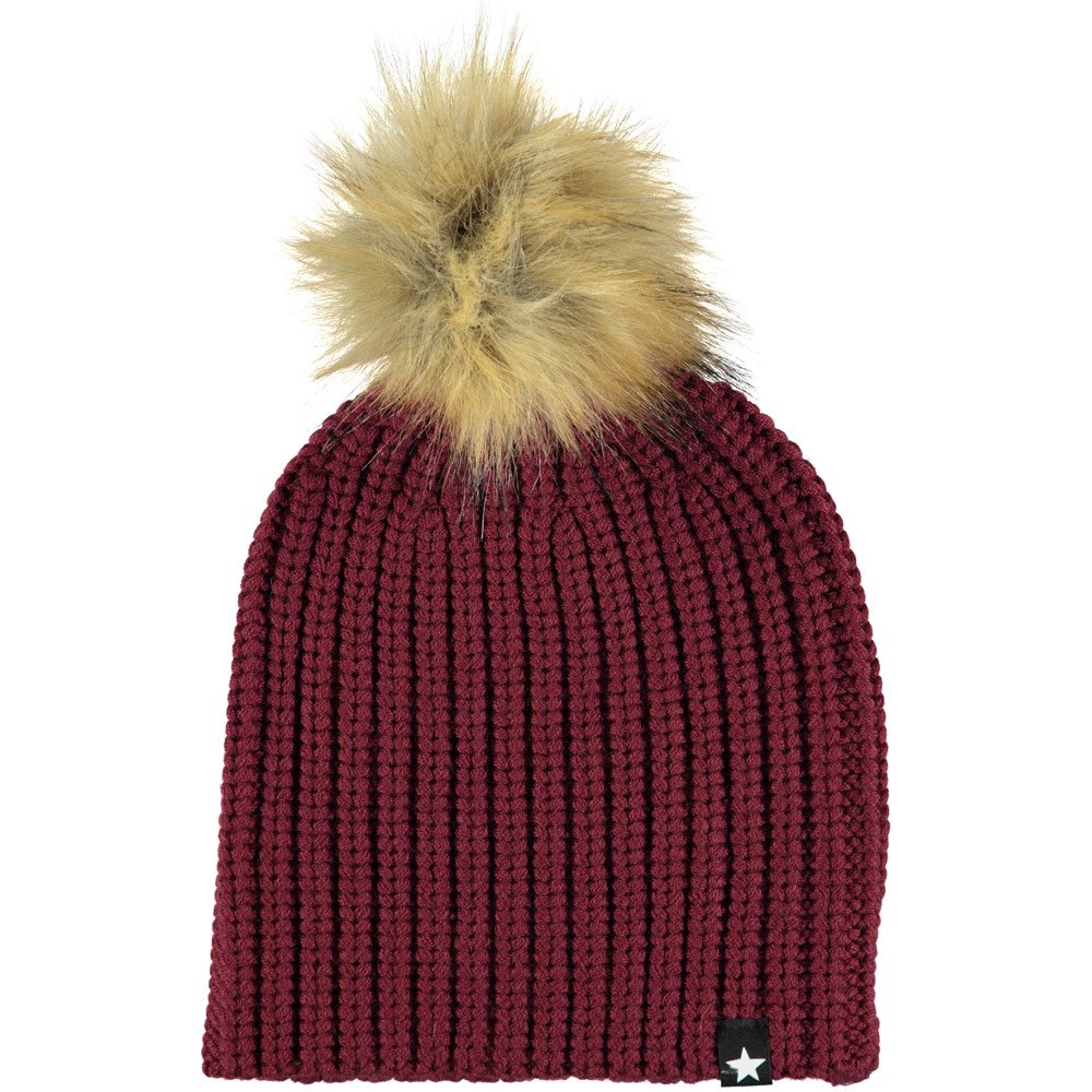 Kikko - Anemone - Bordeaux knit hat in a wool blend