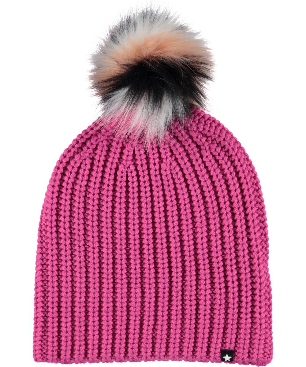 Kikko - Bright Pink - Pink hat with faux fur.
