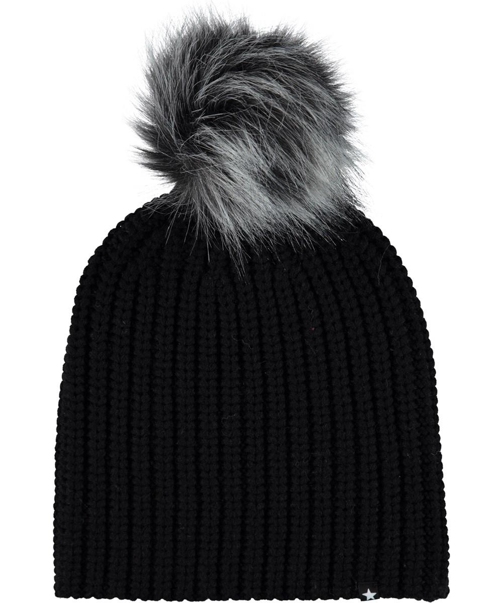 Kikko - Very Black - Black hat with faux fur.