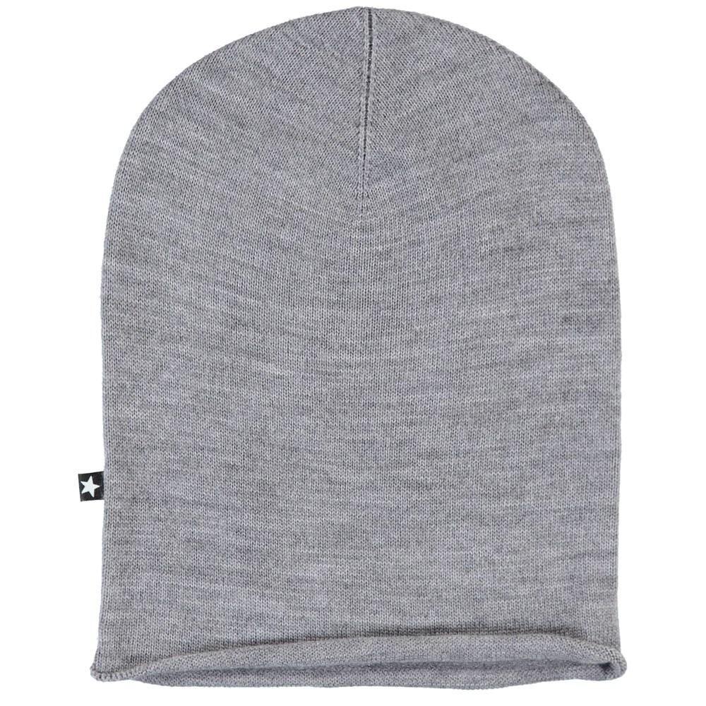 Kira - Grey Melange - Grey, finely knit hat in merino wool