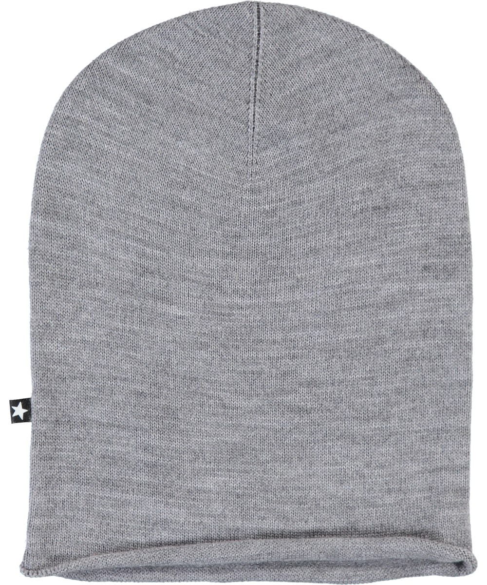 Kira - Grey Melange - Grey, finely knit hat in merino wool