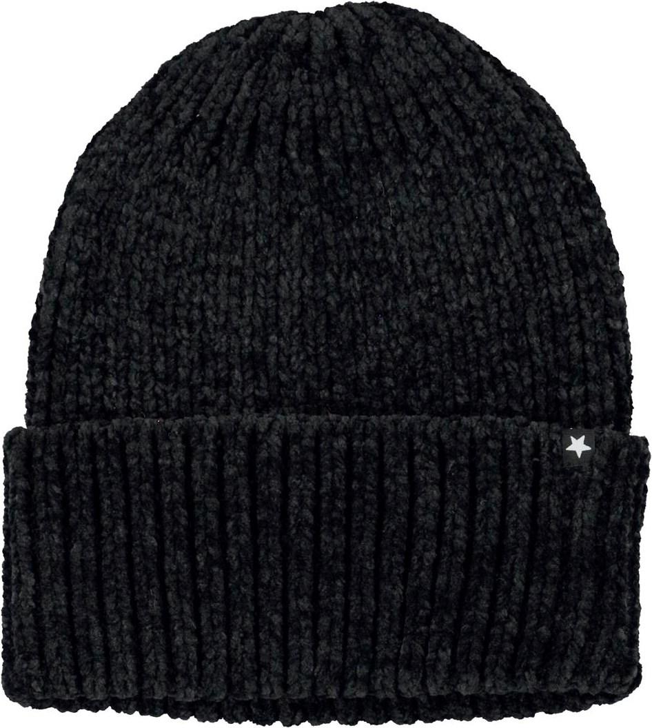 Kitty - Black - Black chenille knit hat