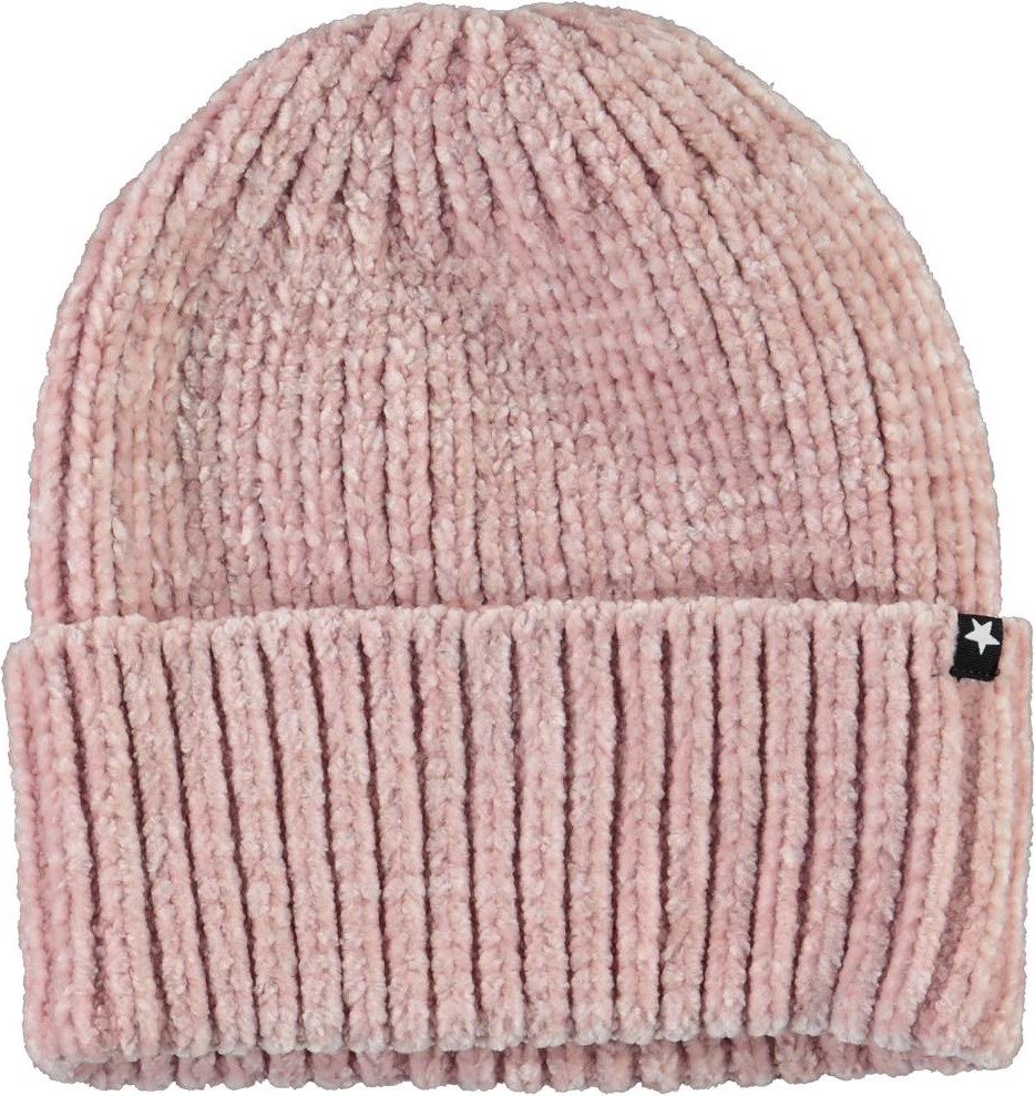 Kitty - Blue Pink - Pink chenille knit hat