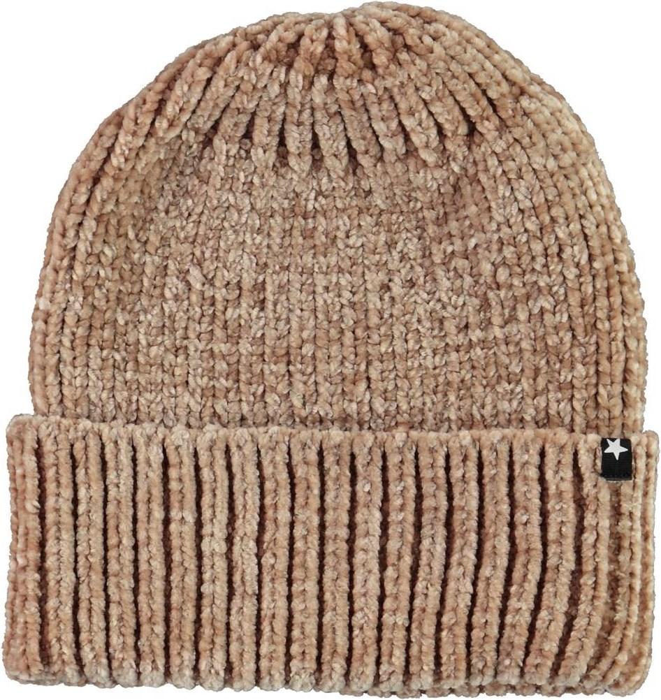 Kitty - Doeskin - Light brown chenille knit hat