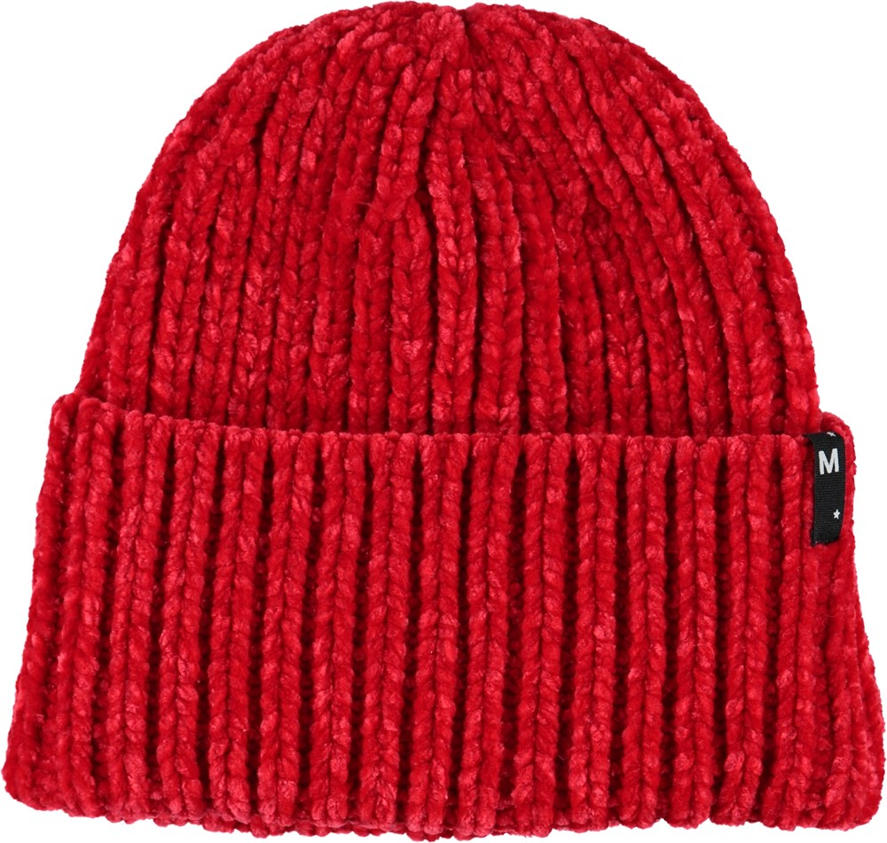 Kitty - Fiery Red - Red knit hat.