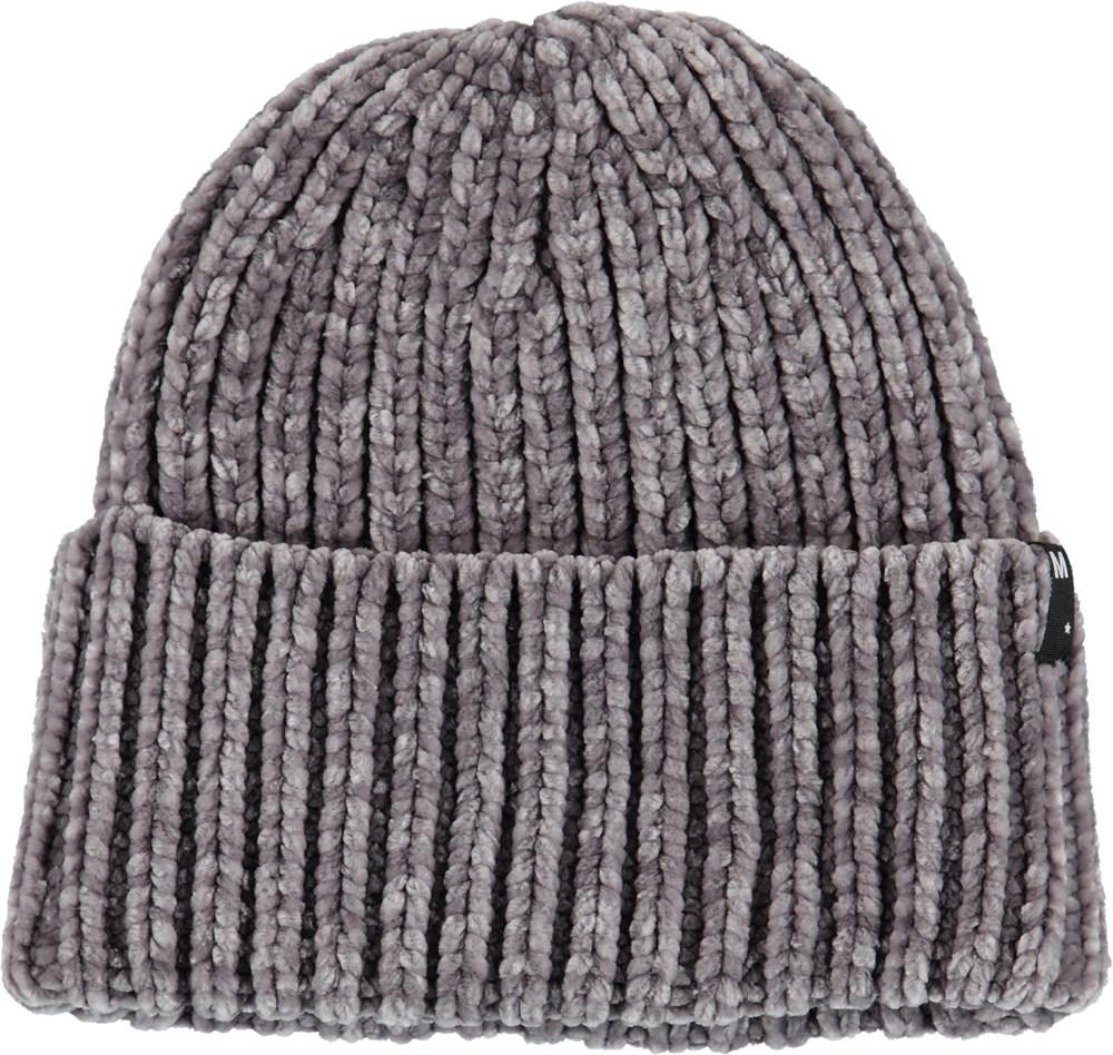 Kitty - Grey Melange - Grey knit hat.