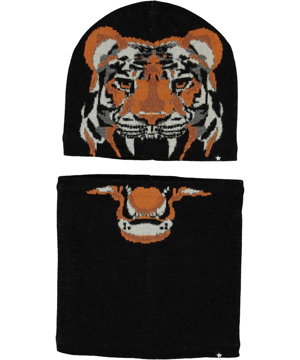 Kleo - Black - Hat and infinity scarf with tiger print