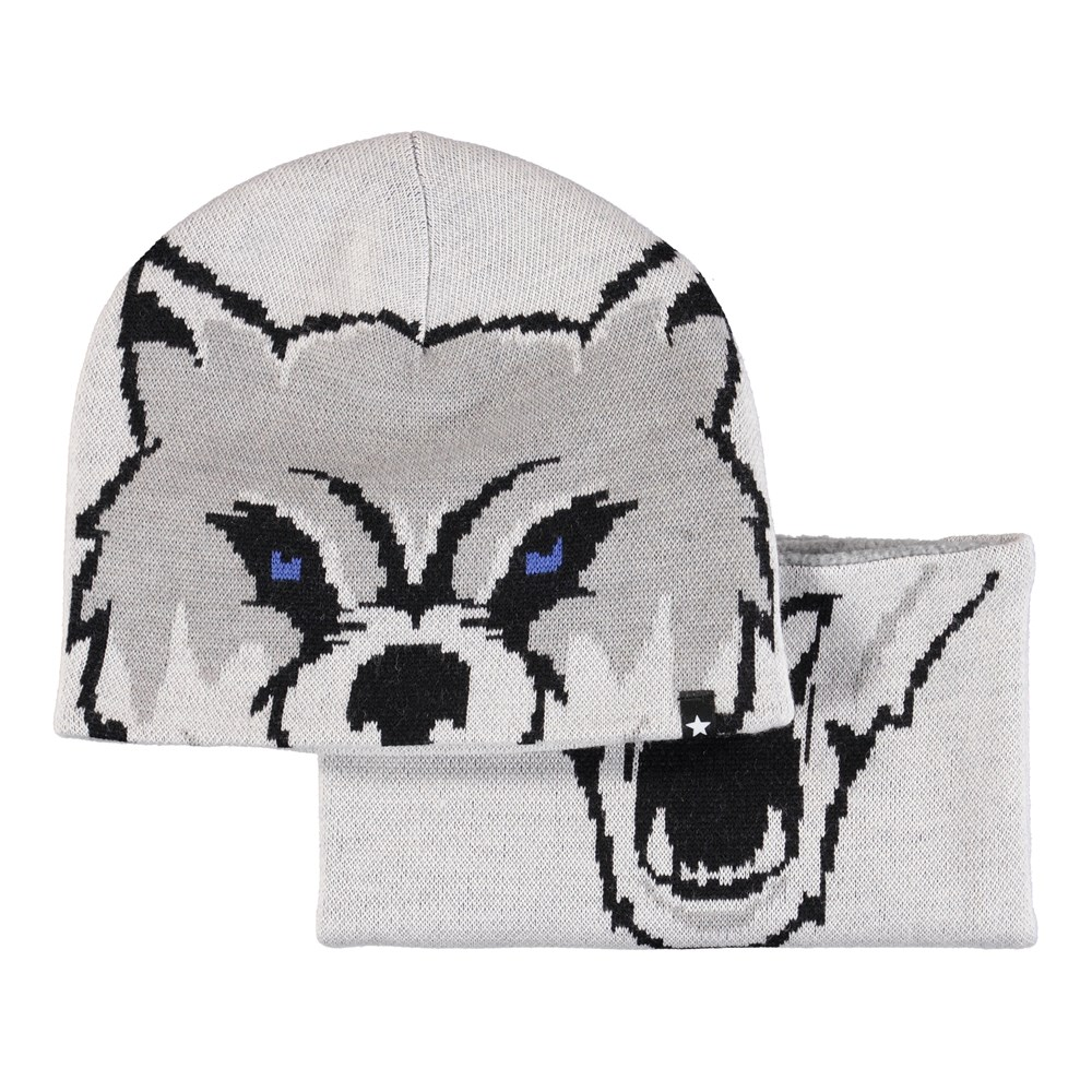 Kleo - Grey Melange - Grey hat and infinity scarf with wolf pattern