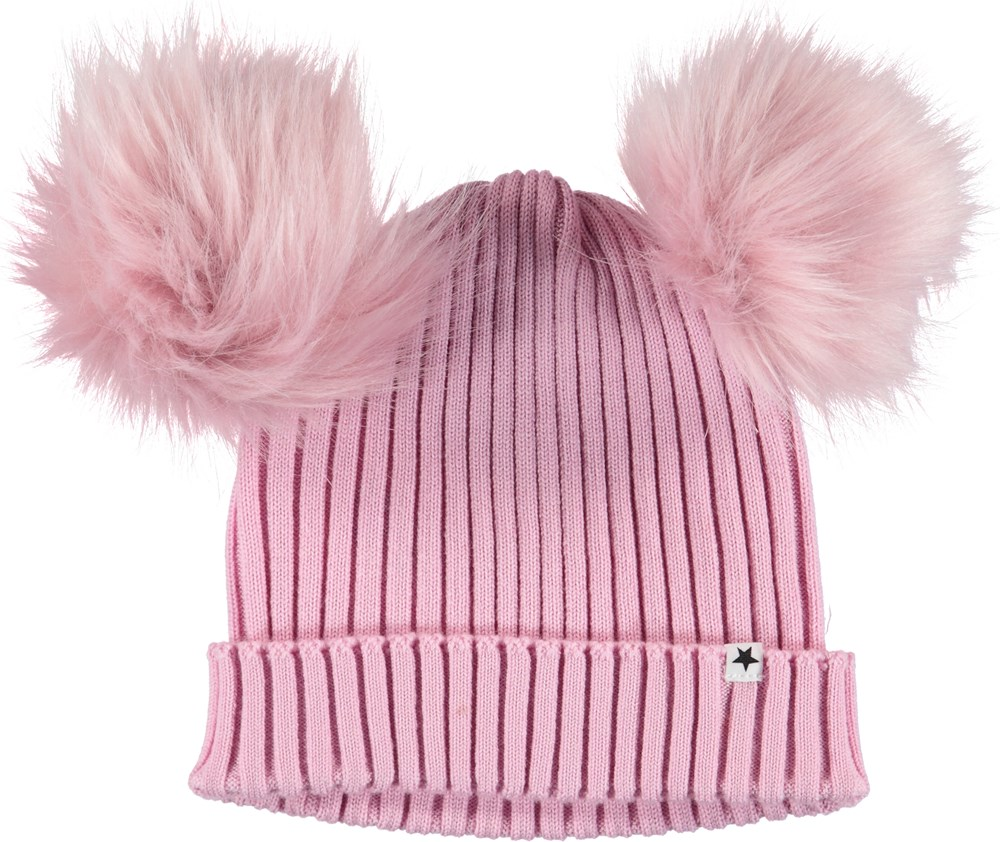Krystina - Star Dust - Pink hat with faux fur.