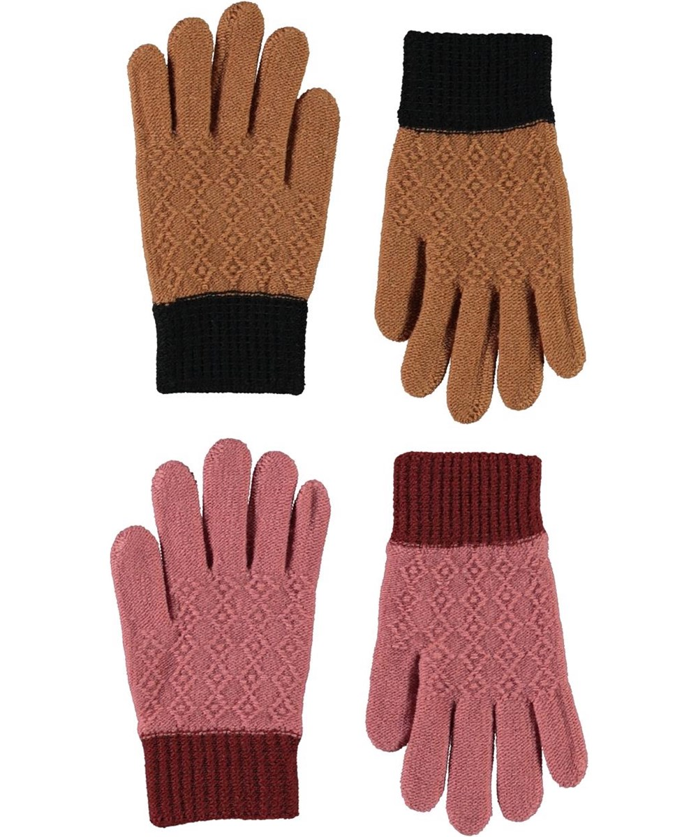 Kyra - Deer - Knit gloves with a brown and rose pattern