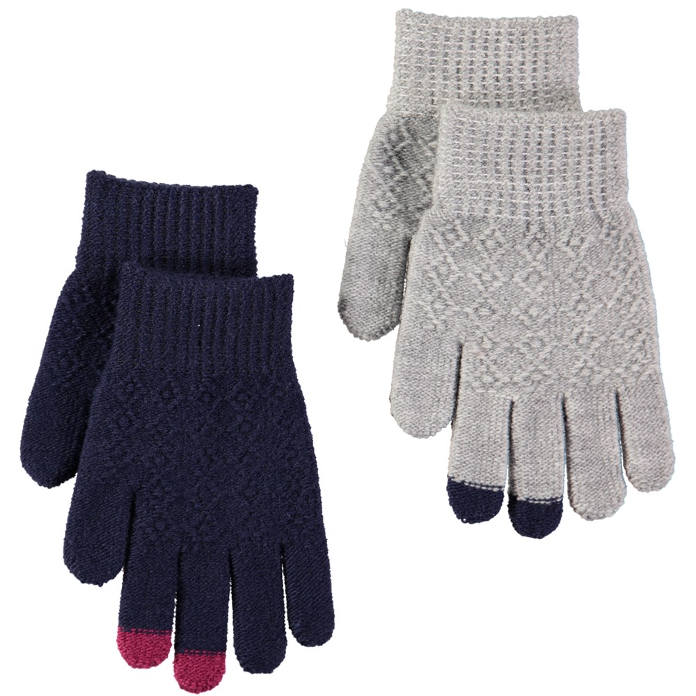 Kyra - Evening Blue - Two pairs of gloves with pattern