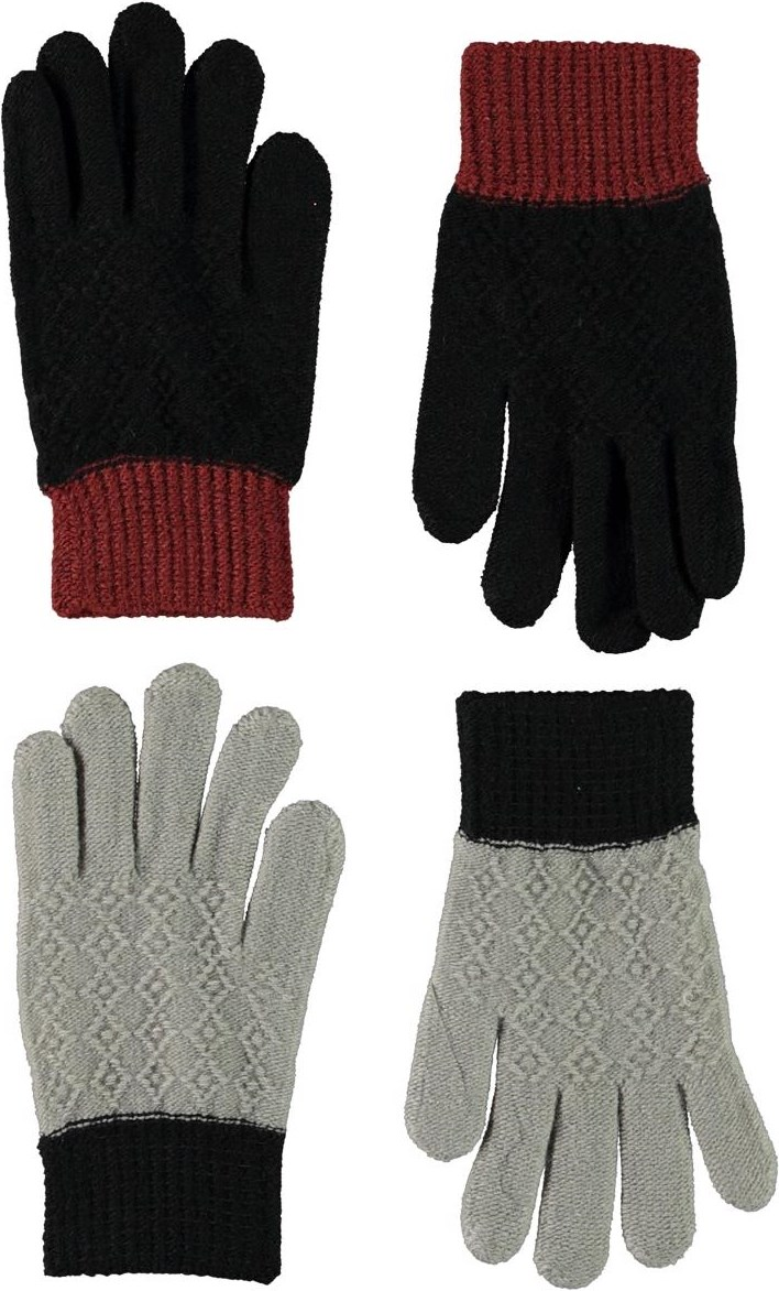 Kyra - Warm Grey Melange - Knit gloves with a pattern in grey and black