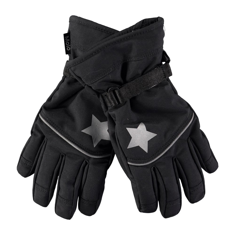 Mack Active - Black - Black, waterproof and breathable ski mittens