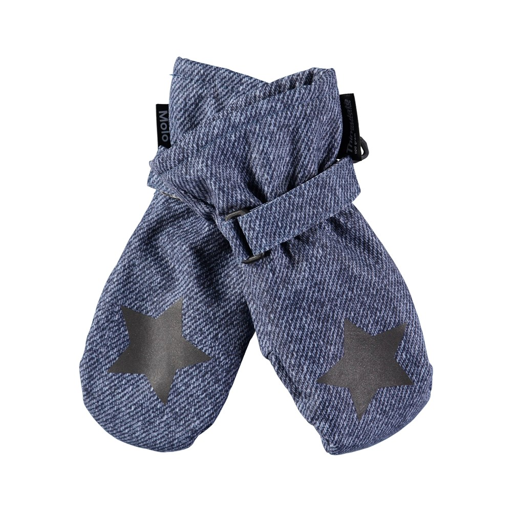 Mitzy - Denim - Waterproof, breathable mittens with denim print
