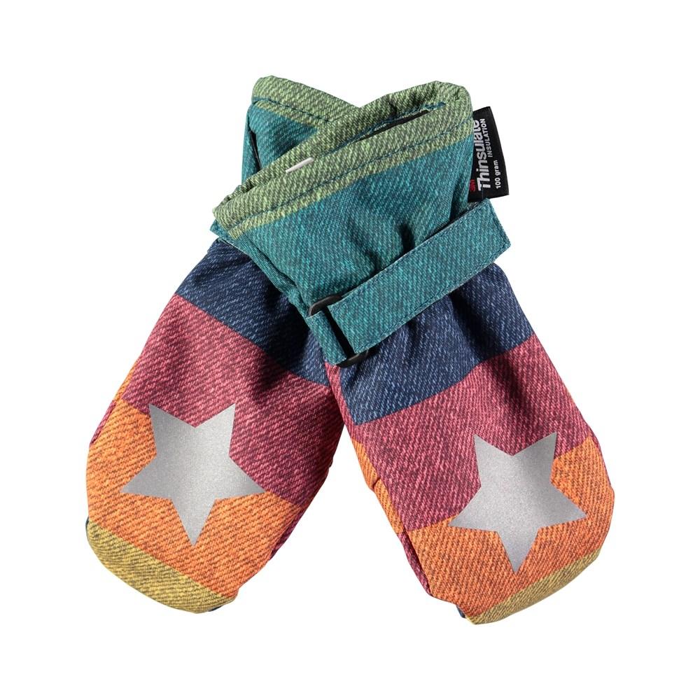 Mitzy - Denim Rainbow - Waterproof, breathable mittens with rainbow denim print