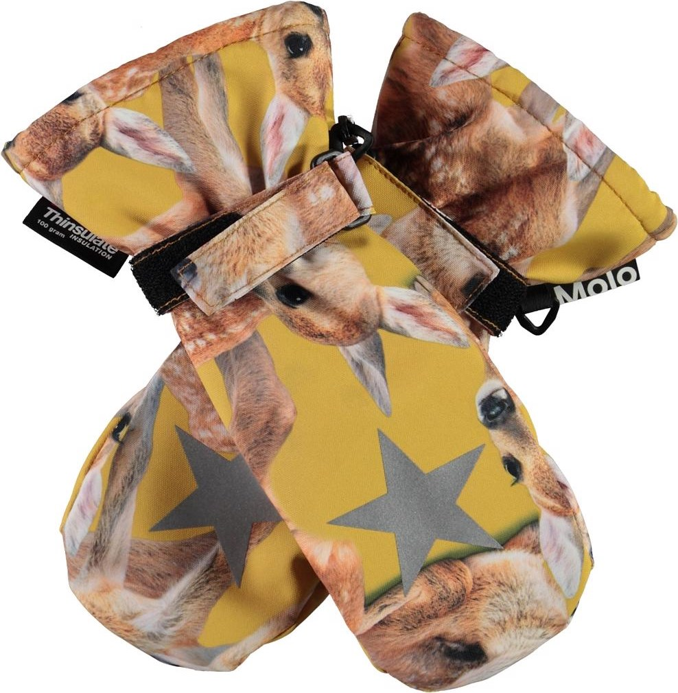 Mitzy - Fawns - Yellow winter mittens with deer