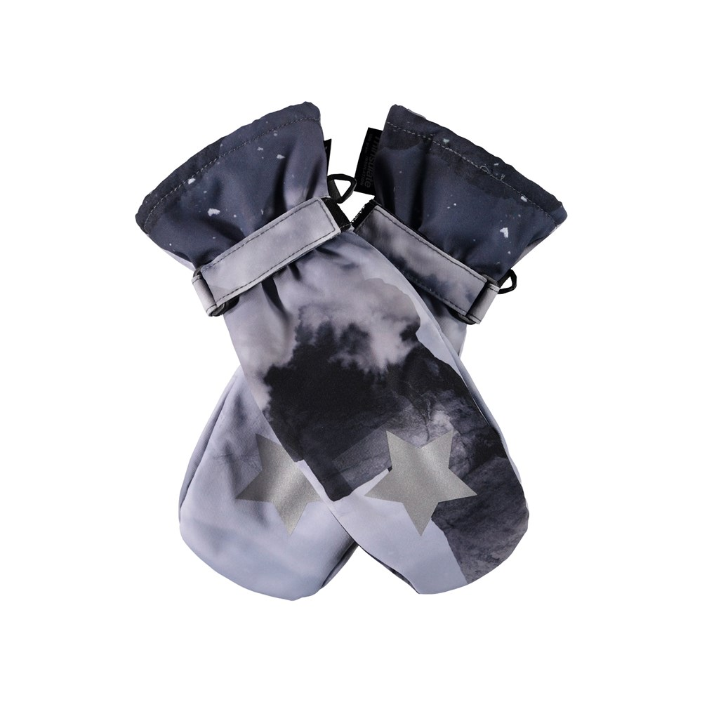 Mitzy - High In The Sky - Waterproof, breathable mittens with digital skier print