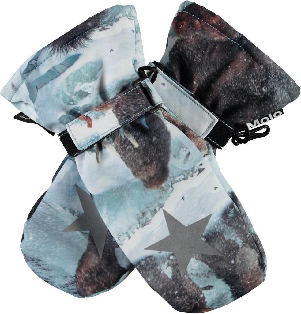 Mitzy - Mammoth - Light blue winter mittens with mammoths
