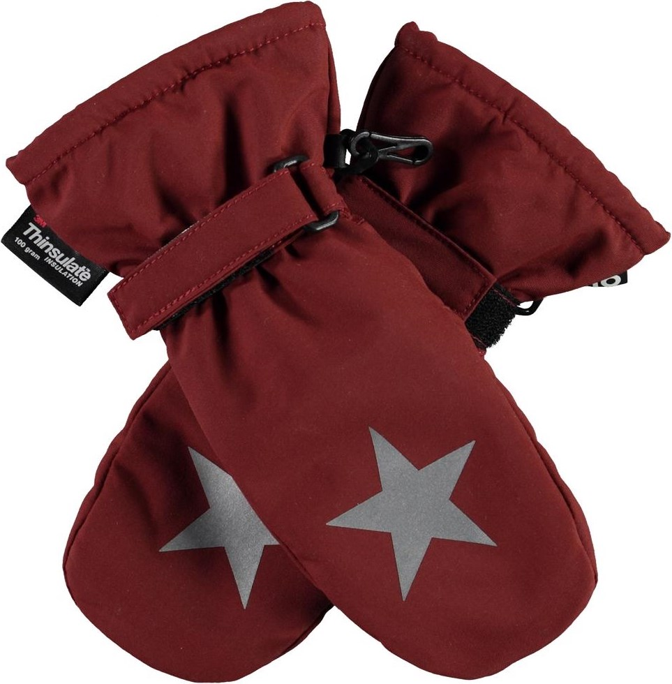 Mitzy - Rosewood - Recycled dark red winter mittens