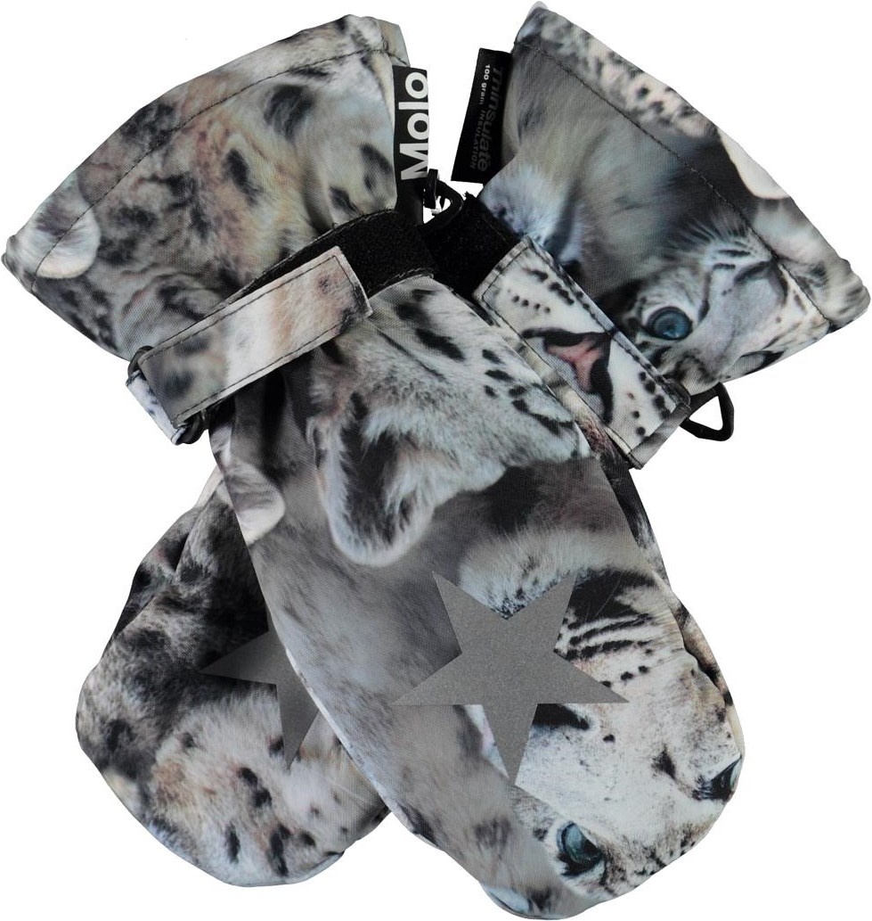 Mitzy - Snowy Leopards - Winter mittens with snow leopards