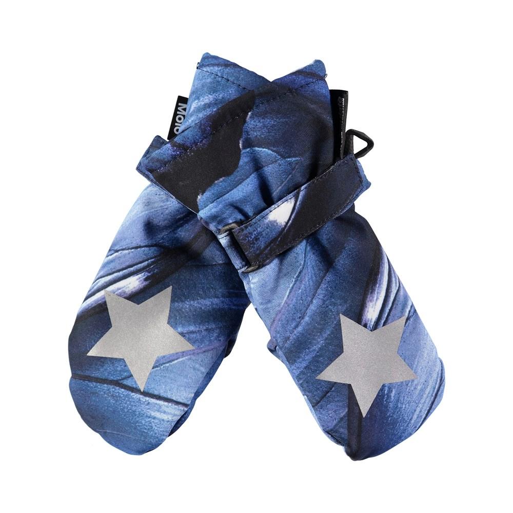 Mitzy - Velvet Wing - Waterproof, breathable mittens with digital blue wing print