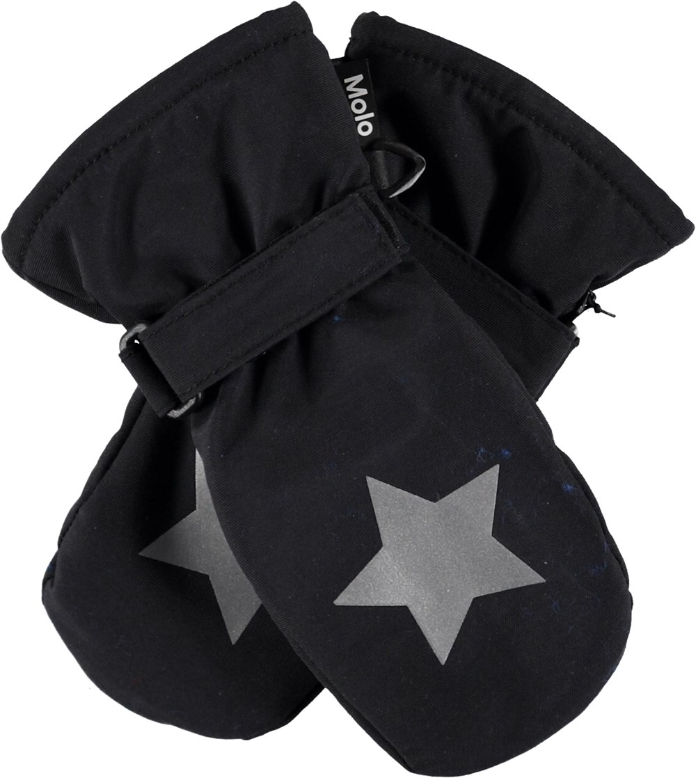 Mitzy - Very Black - Black mittens with star reflectors.