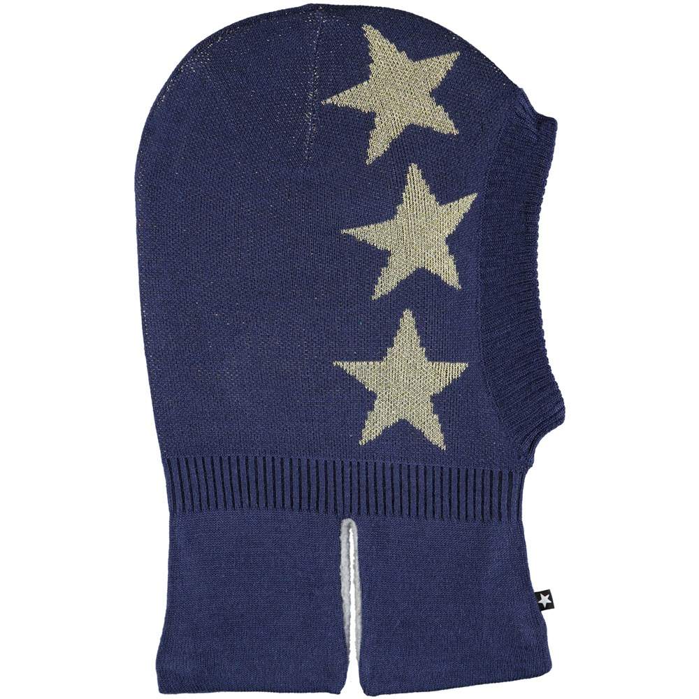 Snow - Evening Blue - Dark blue ski mask in wool blend with stars