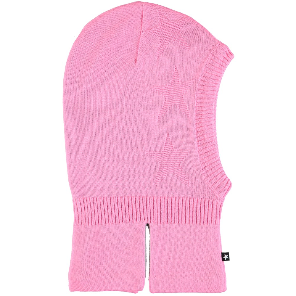 Snow - Total Pink - Pink ski mask in wool blend with stars