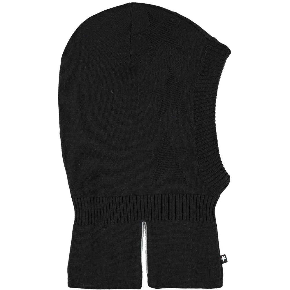 Snow - Very Black - Black ski mask in wool blend with stars
