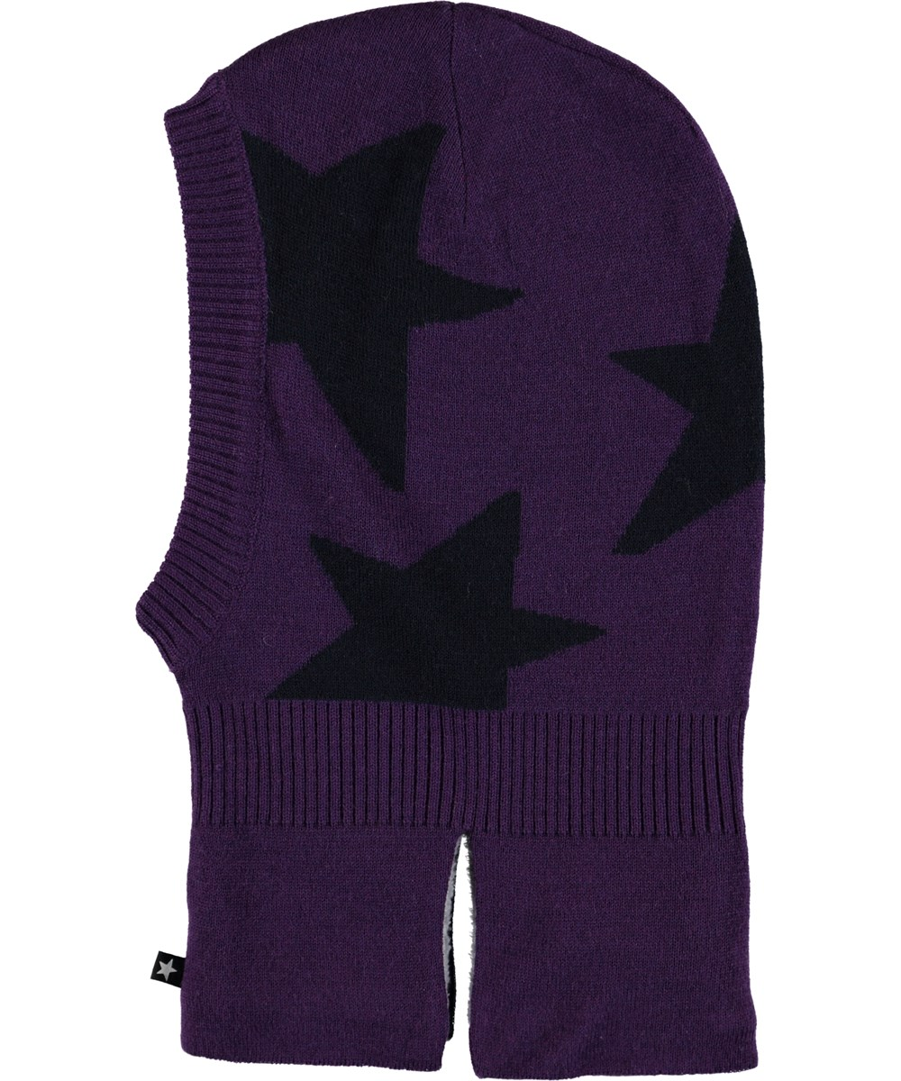 Snow - Dark Purple - Purple ski mask with stars.