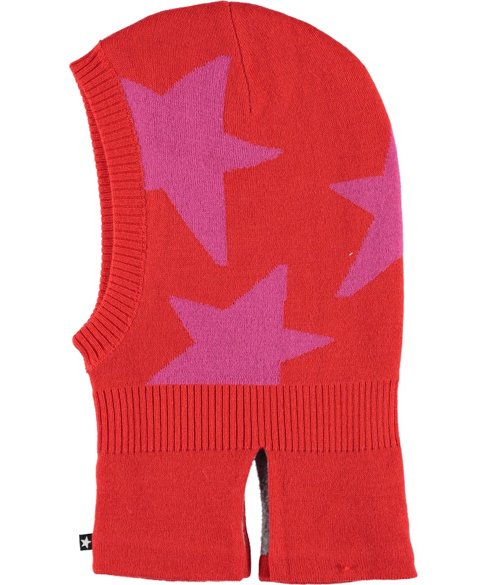 Snow - Fiery Red - Red ski mask with stars.