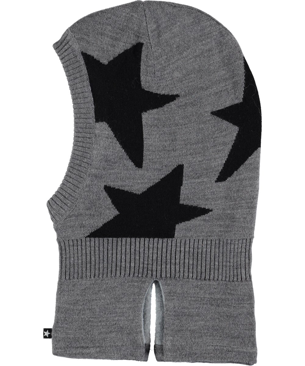 Snow - Grey Melange - Grey ski mask with stars.