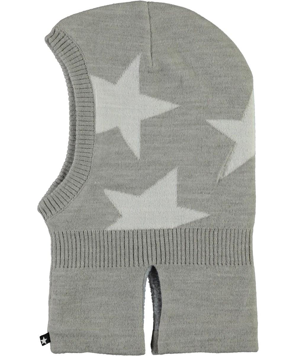 Snow - Warm Grey Melange - Grey ski mask with stars