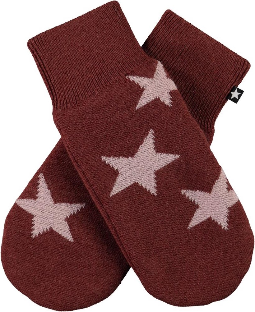 Snowfall - Rosewood - Dark red mittens with stars