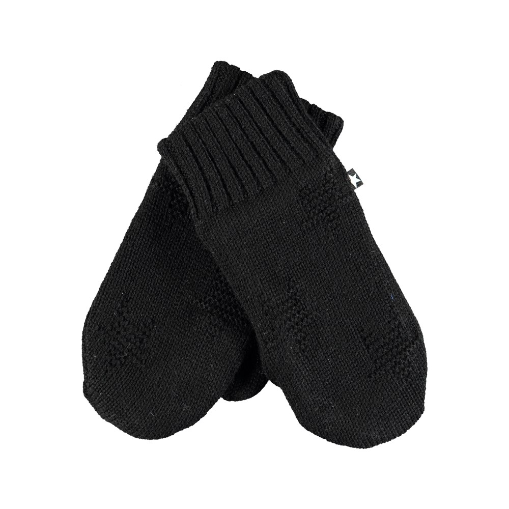 Snowfall - Very Black - Soft, black mittens with stars