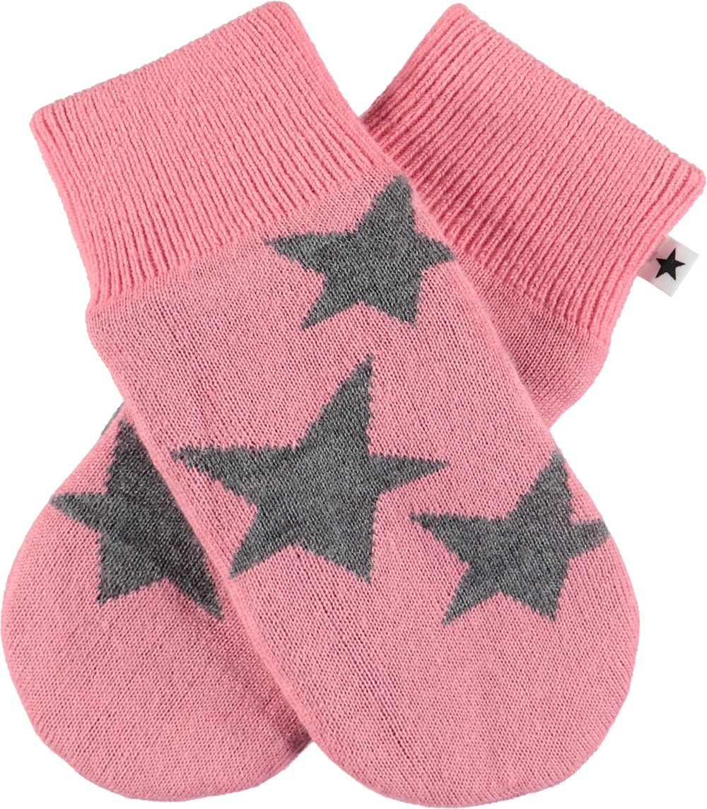 Snowfall - Bubble Pink - Pink knit mittens with stars.
