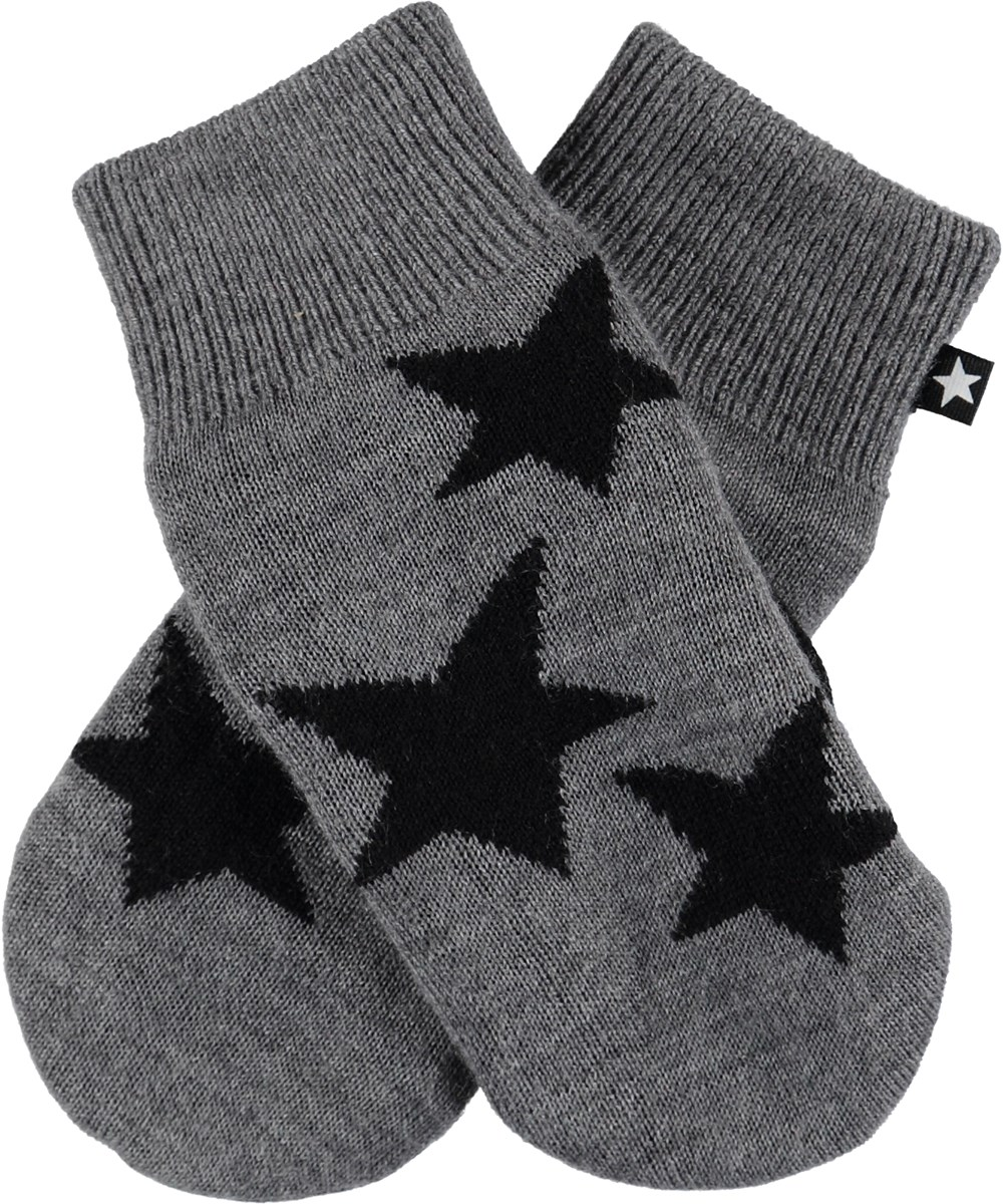 Snowfall - Grey Melange - Grrey knit mittens with stars.