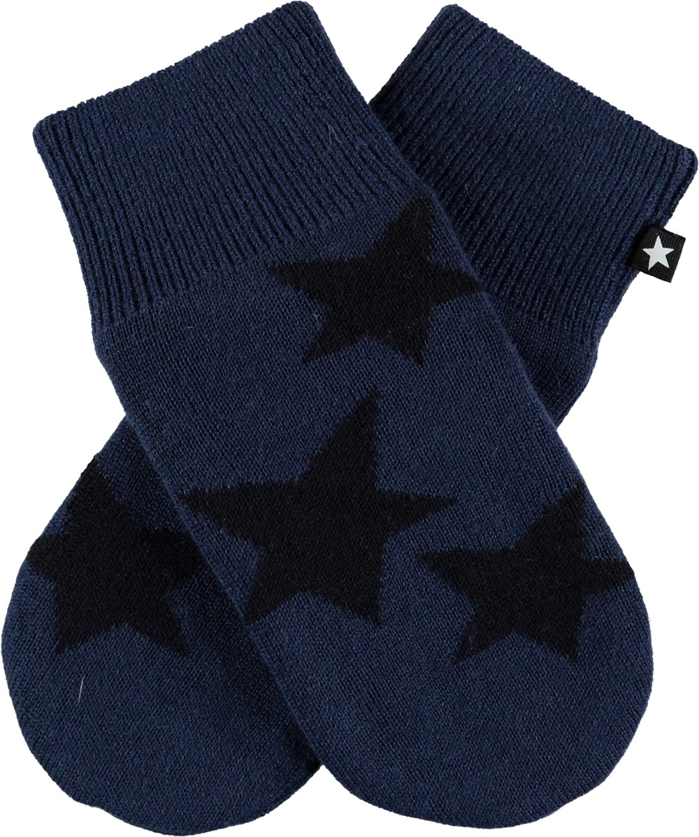 Snowfall - Ocean Blue - Dark blue knit mittens with stars.