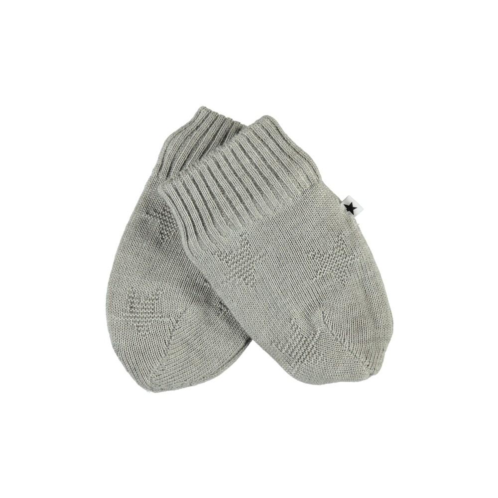 Snowflake - Grey Melange - Grey baby mittens with stars