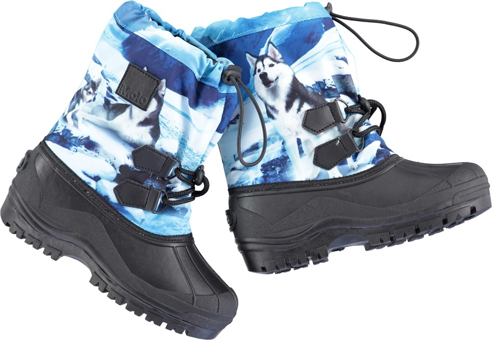 6a14a0330e0 Driven - Husky - Winter boots with a blue print and adjustable closure