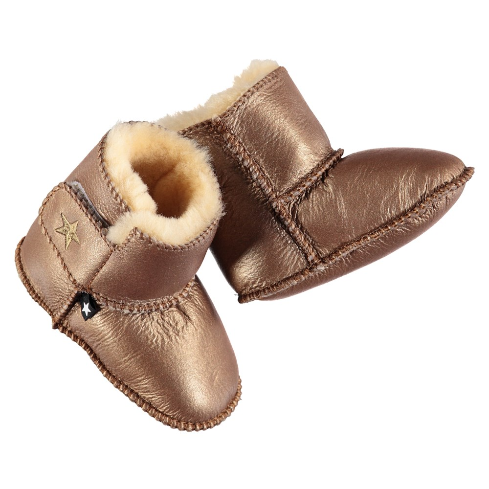 Dust - Copper Coin - Soft baby booties in copper coloured lambskin