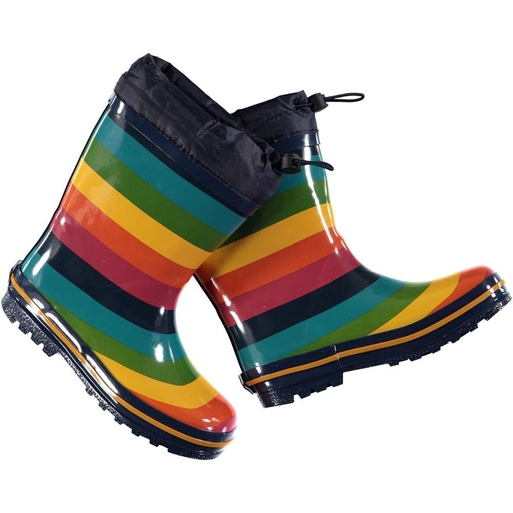 Sejer - Rainbow Stripe - Rainbow striped wellies
