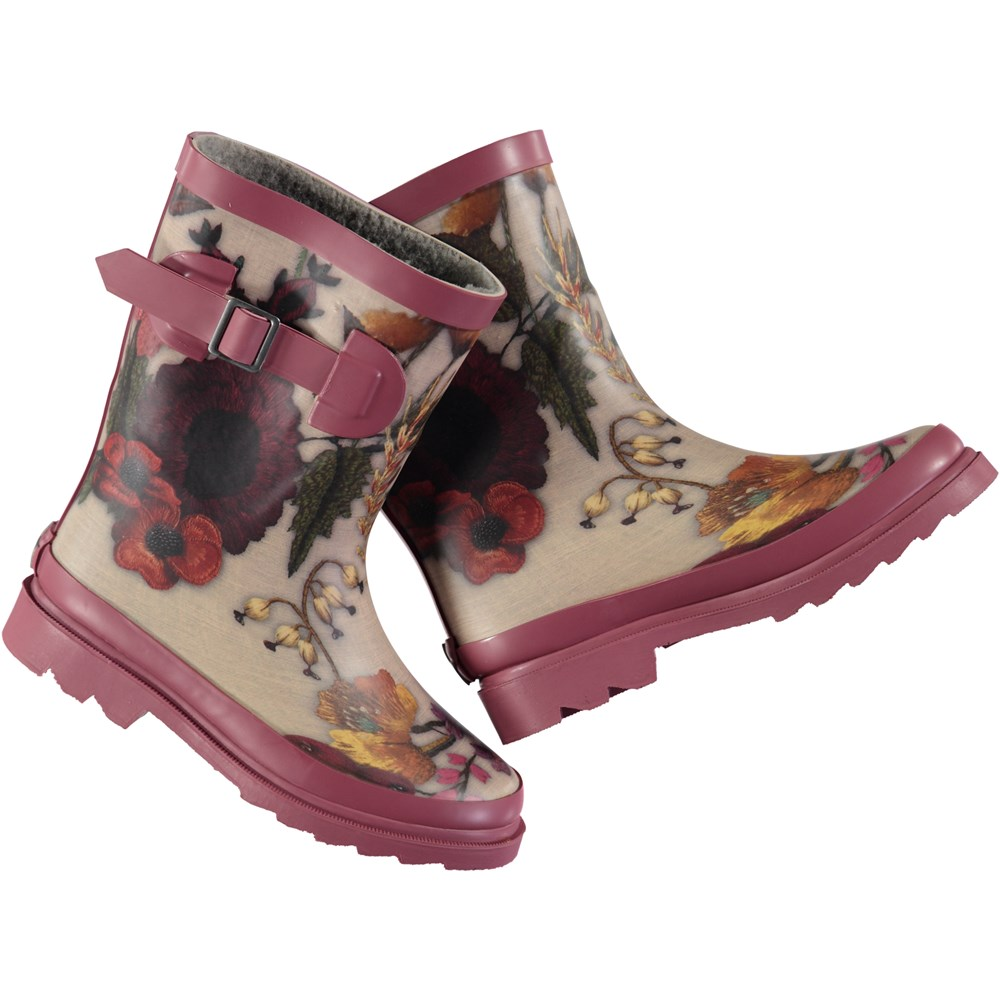 Sigvardt - Flower Embroidery - Wellies with high shaft with digital flower print