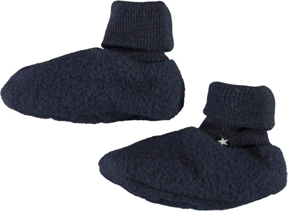 Umut - Dark Navy - Blue wool baby booties
