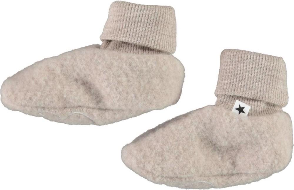 Umut - Moon Sand - Beige wool baby booties